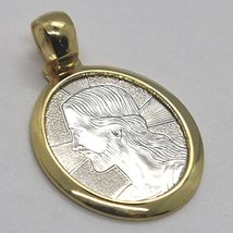 18K YELLOW & WHITE GOLD PENDANT OVAL MEDAL JESUS FACE ENGRAVABLE MADE IN ITALY image 3