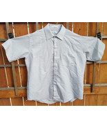 VAN HEUSEN Short Sleeve Shirt-Size 17-Grey Stripe-Button-Collar-Made in USA - $18.69
