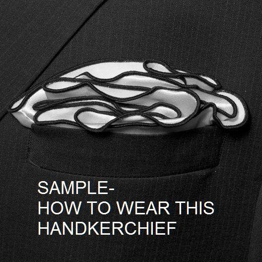 GOLD Silk BLUE border Pocket square Round Handkerchief edge trim NEW $45 image 5