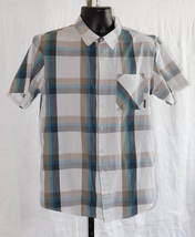 Oakley Men's Shirt Button Down Short Sleeve Gray/Turquoise/Tan Plaid