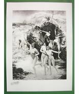 NUDE Greek Nymphs Oceanides !! VICTORIAN Antique Print - $29.70