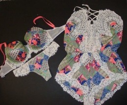 Victoria's Secret 32DDD,34DD,34DDD BRA SET+M ROMPER Patchwork White Blue... - $119.99