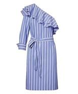 Banana Republic Dress 4 6 8 One Shoulder Striped Belted Collar Ruffle Sh... - $59.99