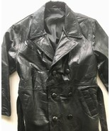 Black Leather Trench Coat -  Size S - £69.79 GBP