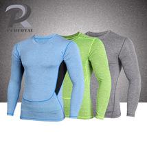 Long Sleeve Running Tights Compression Round Collar Men Flexble T-Shirt - $17.99