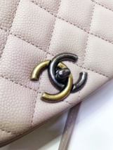 AUTHENTIC CHANEL 2017 PINK QUILTED CAVIAR 2 WAY FLAP BAG NEW image 6