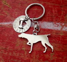 New German Shorthair Pointer Custom Keychain.  Pointer Personalized Jewelry.  Do - $18.00