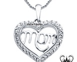 R mom heart pendant necklace made with swarovski crystals womens size 18 white  1  thumb155 crop
