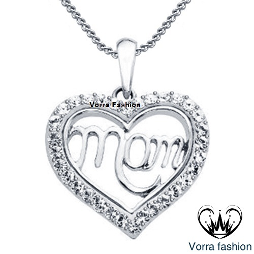 White Gold Plated 925 Silver Round Cut CZ Mom Heart Pendant Necklace With Chain