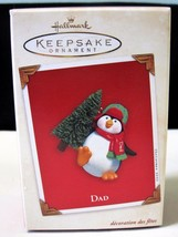 Hallmark Keepsake Christmas Ornament Penguin Dad Carrying Tree 2003 LNIB - $14.11