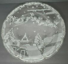 "Large Christmas Glass Serving Platter Bowl 15"" Round Santa & Reindeer Scene - $26.40"