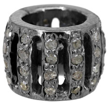 New Diamond Pave Rondelle Spacer Bead 925 Sterling Silver Finding Jewelr... - $93.19