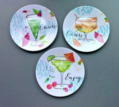 "Melamine Tidbit Appetizer Dessert Plates 6"" Set of 6 Beach House CHEERS ... - $27.60"