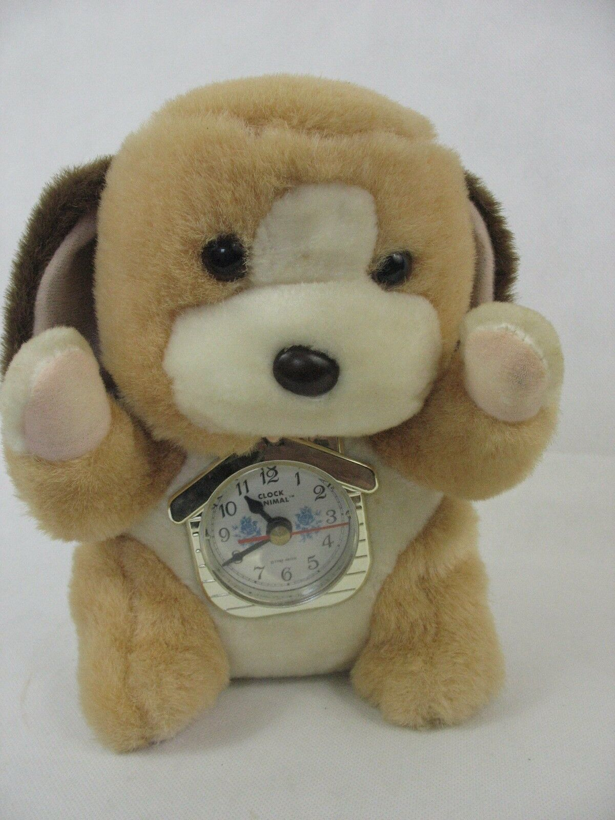 Primary image for Vintage Clock Animal Plush Metro 1986 1987 Puppy Dog