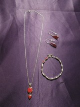 Sterling Silver Jewelry 3 Piece Suite Necklace Earring Bracelet Set Red ... - $94.05
