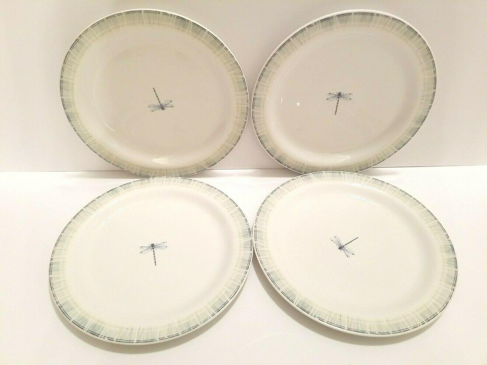 """4 Portmeirion PS Studio Lakeside Dragonfly Green Narrow Rim 11 1/8"""" Dinner Plate - $43.53"""