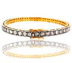 Victorian Rose Cut Diamond 925 Sterling Silver Bangle Bracelet 14 K Gold... - $733.31