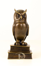 Antique Home Decor Bronze Sculpture shows Wise Owl, signed * Free Air Sh... - $229.00