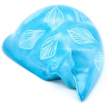 Tabaka Chigware Hand Carved Kisii Soapstone Blue Flower Sleeping Cat Figure image 2
