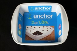 Anchor Hocking 8 Inch Square Baking Dish Classic White New With Tags - $17.38