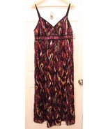 Style & Co. Size 16  Maxi Dress BLACK Purple Pink Abstract Paint Brush S... - $29.67