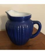 Hazel Atlas Gay Rainbow Platonite Milk Glass Blue Creamer Pitcher Kix Ce... - $16.00