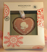 New Wedgwood Pink White Jasperware Breast Cancer Heart Christmas Ornament - $29.99