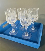 "Set Of 5 Cristal D'arques Longchamp Clear 7-1/4"" Water Goblets Wine Glasses 8-oz - $48.99"
