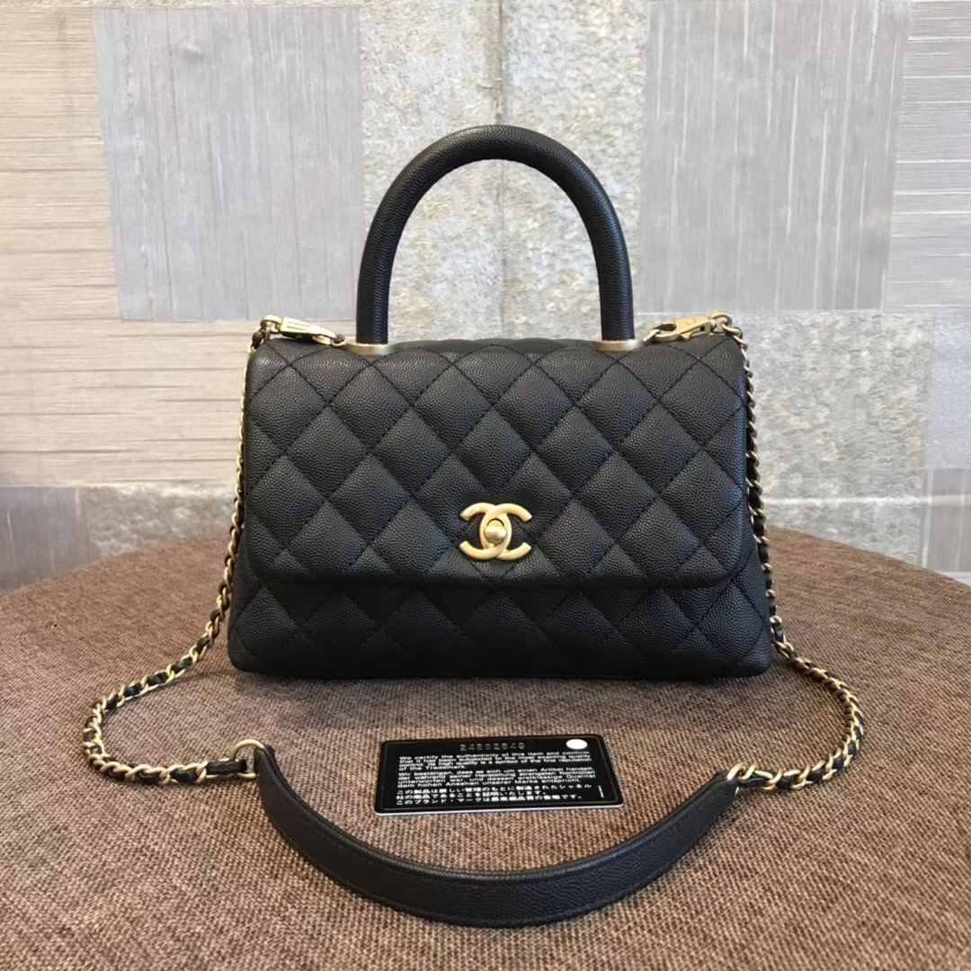 NEW AUTHENTIC CHANEL QUILTED BLACK CAVIAR SMALL COCO HANDLE BAG GHW