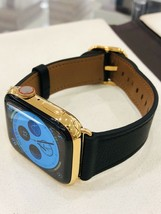 24K Gold Plated 44MM Apple Watch SERIES 4 Black Leather Stainless Steel GPS+LTE - $1,025.14