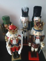 """Lot of 5 Nutcrackers Wooden King Soldier 15"""" 16"""" 18"""" Christmas Holiday D... - $79.15"""