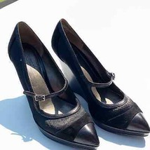 Circa Joan & David Womens Black Mary Jane Pointed Toe Wedge Shoes EUC Si... - $34.65