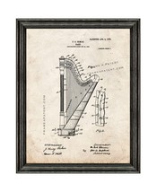 Harp Patent Print Old Look with Black Wood Frame - $24.95+