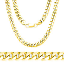 14k Yellow Gold 925 Sterling Silver Miami Cuban Curb Link Italian Chain ... - $91.28+