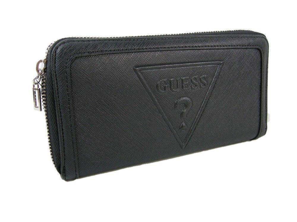 Guess Logo Purse Satchel Hand Bag & Zip Wallet 2 Piece Set Black Multi NWT