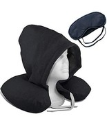 U Shape Travel Pillow Set with Hoodie & Sleeping Mask (Black) - ₹1,597.86 INR