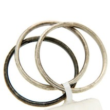 Authentic GURHAN 925 Sterling Silver Set of 3 Midnight Band Ring Size 6.5 »$520 - $186.07