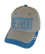 Detroit Window Shade Font Men's Adjustable Baseball Cap (Gray/Teal) - $12.95