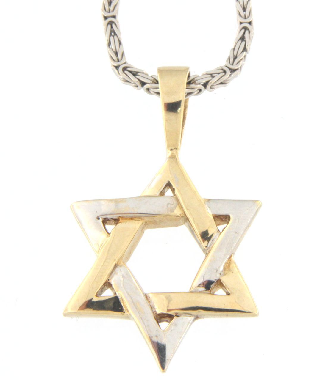 Star of david Unisex 14kt Yellow and White Gold Necklace