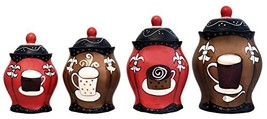 Tuscany Hand Painted Fleur De Lis Coffee Design, Canister Set of 4, 8510... - $91.68