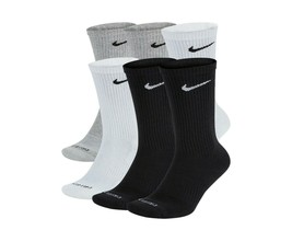 NIKE Everyday Plus 6-Pair Pack Cotton Cushioned Crew Dri-Fit Socks 8-12 ... - $21.95