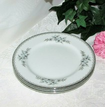MIKASA FINE CHINA ALICIA SALAD PLATE LOT 3 9359 BLUE GRAY FLOWERS VINTAG... - $17.57