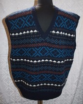 The Joseph Benjamin Collection Sz XL Sweater Vest Knit Shetland Wool V-neck - $31.57