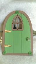 Hand Painted Green Brown Wooden Majickal Faery Door Faery Garden Accessory - €4,05 EUR