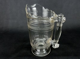 Doyle & Co. Glass Water Pitcher, Ribbed Bands, Ornamental Handle, Scallo... - $68.55