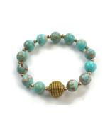 Turquoise Beaded Bracelet, Sea Blue Magnesite bracelet, Golden Grass str... - $25.60