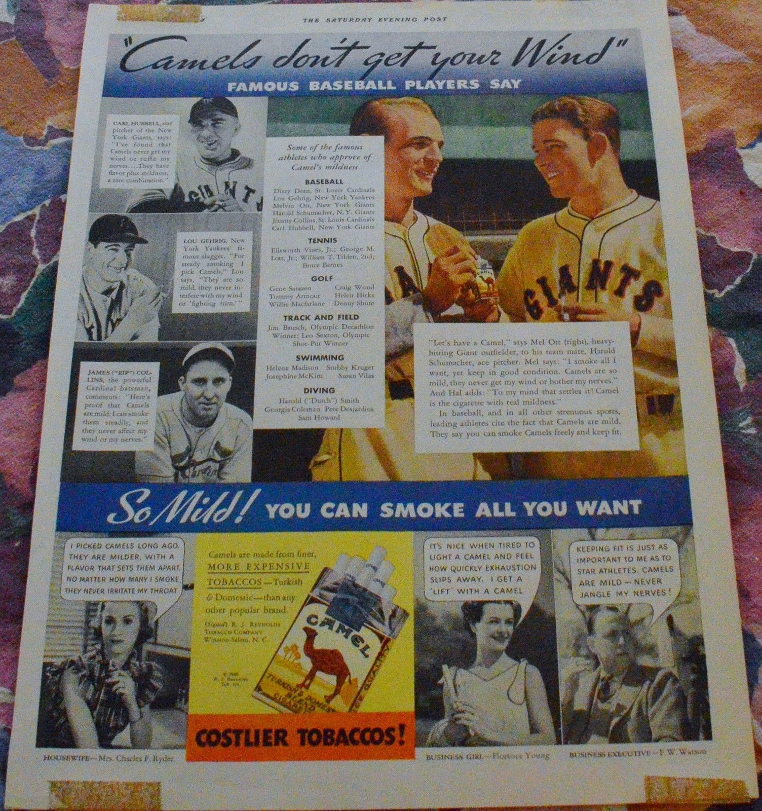 Baseball Magazine Ads - 4 diff. Mathewson, Gehrig, Hubbell, Ott ++