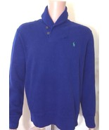 Ralph Lauren Mens Ribbed Royal Blue Shawl Neck Jumper XS Extra Small RRP... - $92.69