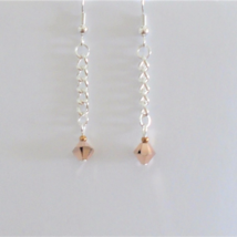 Earrings Rose gold Austrian crystal Womens dangle earrings 1-1/4in Handm... - $5.00