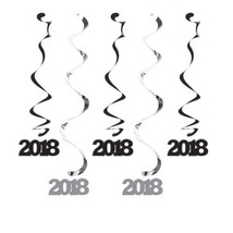 2018 Dizzy Danglers Hanging Decorations Black Silver 5 Ct New Years - $5.39